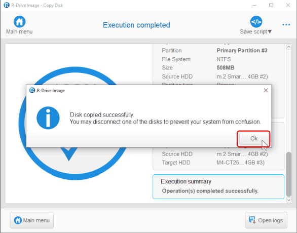 Cloning and Mass System Deployment: Disk copied
