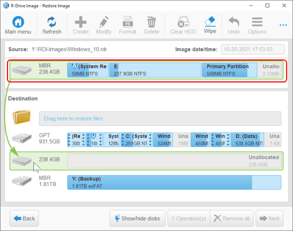 Cloning and Mass System Deployment: Image Object Selection panel