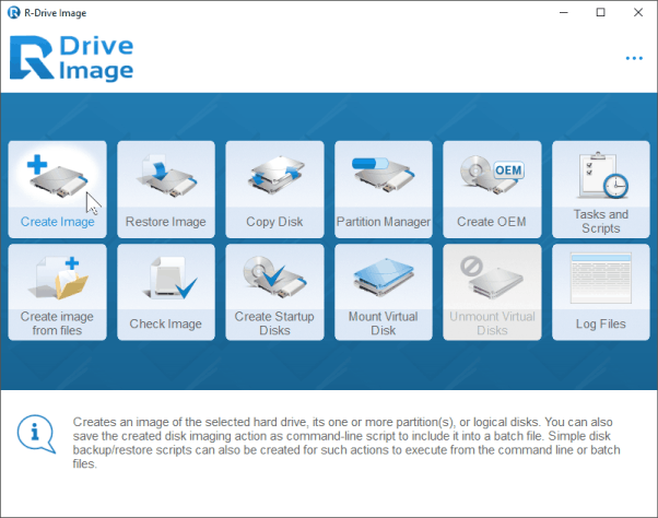 Backup Software: Action Selection panel
