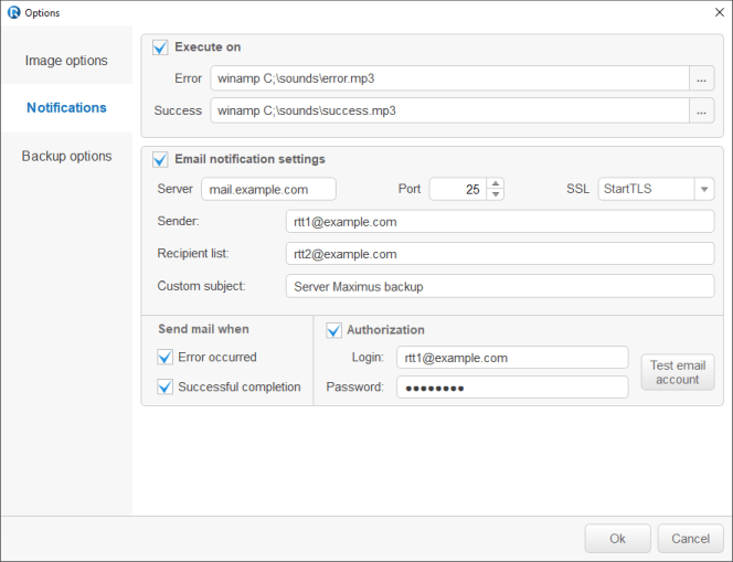 Backup Software: Mail Notification/AUX Applications panel