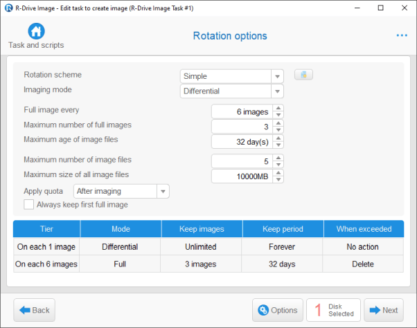 Backup Software: Imaging Mode panel