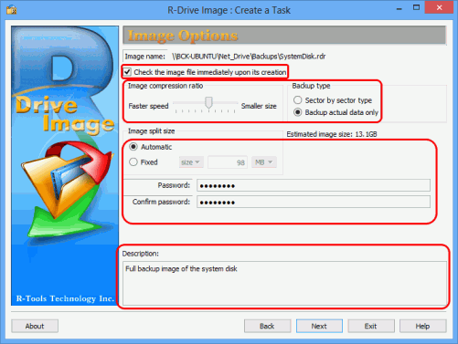 Monthly system disk full backup - Image Options Panel