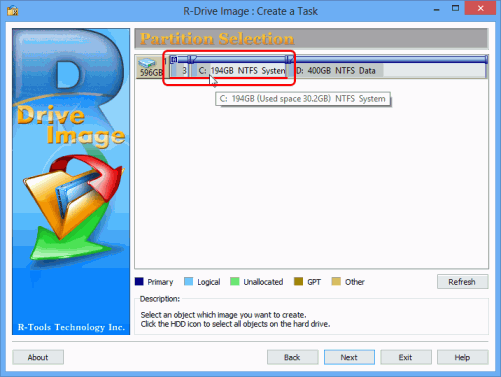 Monthly system disk full backup - Partition Selection