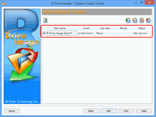 Monthly system disk full backup - Scheduled Tasks